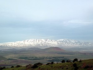 Snowy Mount Hermon as seen from Mt. Bental.