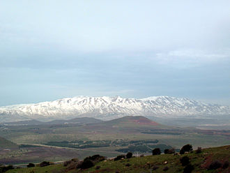 Anti-Lebanon Mountains - Mount Hermon, highest point in the Anti-Lebanon range from the peak of Mount Bental