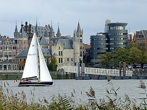 """Het Steen - Het Steen, photographed from the left river bank (""""Linkeroever"""")"""