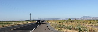 California State Route 160 - Looking south along Highway 160 on Sherman Island. The Antioch Bridge can be seen in the distance as well as Mount Diablo.
