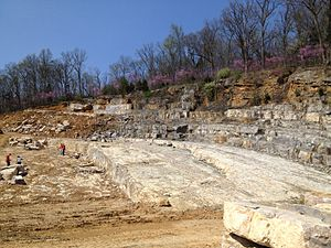 Hokie Stone - South slope of the main quarry in Blacksburg.