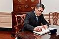 Honduran President Hernandez Signs Secretary Pompeo's Guestbook (42167632814).jpg