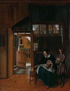A Woman Preparing Bread and Butter for a Boy - Image: Hooch, Pieter de A Woman Preparing Bread and Butter for a Boy Google Art Project