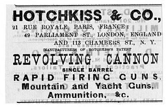 Hotchkiss Ordnance Company - Image: Hotchkiss & Co advertisement clipping for Revolving Cannon 11 28 1885