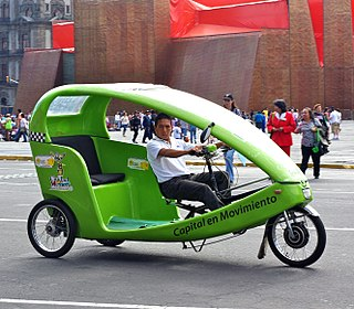 The pedal-powered version of the rickshaw