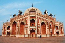 Humayun's tomb (reddish coloured against the sky