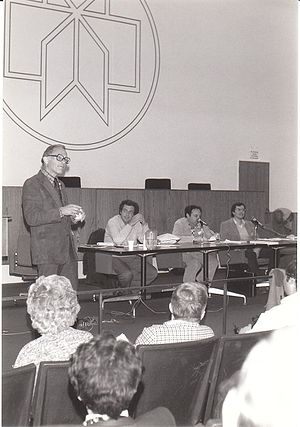 Ray Hyman - Hyman speaks at the 1983 CSICOP Conference in Buffalo, NY. With Lee Ross, Daryl Bem and Victor Benassi.
