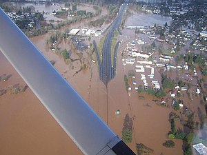 Washington State Route 6 - During the Great Coastal Gale of 2007, the I-5 interchange in Chehalis was flooded.