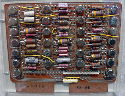 A circuit board from the IBM 7030 IBM 7030 Stretch circuit board.jpg