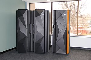 Linux on z Systems - A pair of IBM mainframes.  On the left is the IBM z Systems z13.  On the right is the IBM LinuxONE Rockhopper.