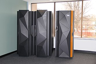 IBM System z - A pair of IBM mainframes.  On the left is the IBM z Systems z13.  On the right is the IBM LinuxONE Rockhopper.