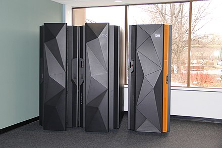 A pair of IBM mainframes. On the left is the IBM z Systems z13. On the right is the IBM LinuxONE Rockhopper. IBM z13 and LinuxONE Rockhopper.jpg