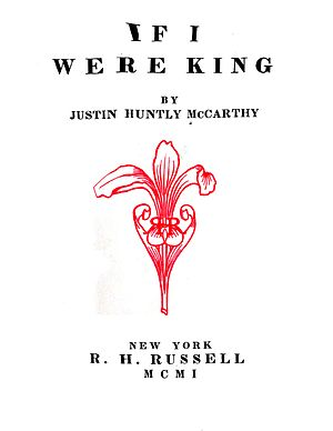 The Vagabond King - Title page from 1901 novel If I Were King