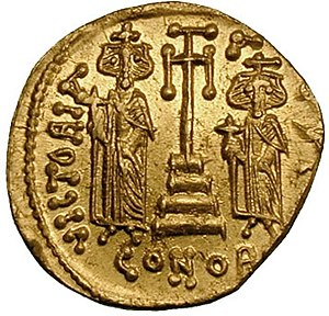Tiberius (son of Constans II) - Reverse of a solidus of Constantine IV, displaying Tiberius and his brother Heraclius.
