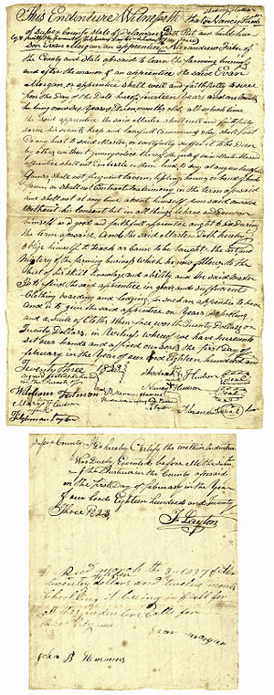 Indentured servitude in the Americas - Indenture of apprenticeship binding Evan Morgan, a child aged 6 years and 11 months, for a period of 14 years, 1 month. Dated Feb. 1, 1823, Sussex Co., Delaware.