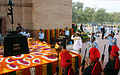 Indian Armed Forces service chiefs paying homage at Amar Jawan Jyoti on Air Force Day 2014.JPG