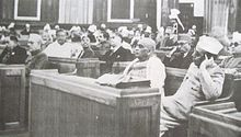 First day (9 December 1946) of the Constituent Assembly. From right: B. G. Kher and Sardar Vallabhai Patel; K. M. Munshi is seated behind Patel.