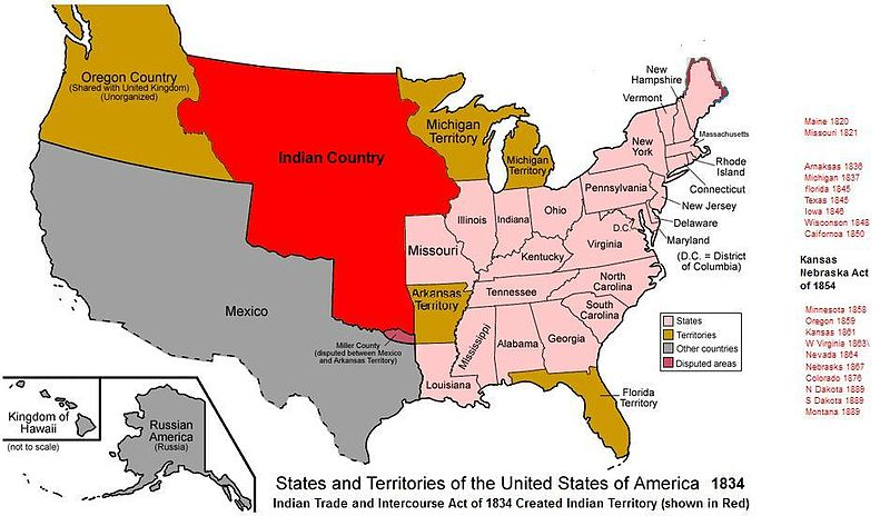 Indian Territory or Indian Country (red) as set by the Nonintercourse Act of 1834, which also dovetailed with other measures to relocate Indian populations westward.