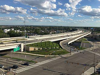 Interstate 90 in Ohio - The George V. Voinovich Bridges in downtown Cleveland, 2017