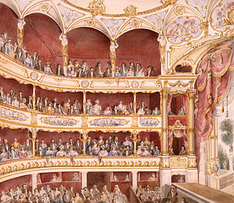 watercolour showing interior of theatre, with autidorium to the left and stage to the right