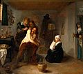 Interior with a surgeon operating on a man's back. Oil paint Wellcome V0017543.jpg