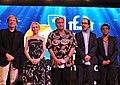 International Jury members Goran Paskaljevic (Jury Chairman), Victor Banerjee, Claire Denis, Prasanna Vithange, Atiq Rahimi, at the closing ceremony of the 44th International Film Festival of India (IFFI-2013), at Panaji.jpg