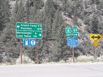 California State Route 4 - Image: Intersection of California State Routes 4 & 89