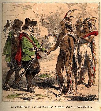 """Samoset - """"Interview of Samoset with the Pilgrims"""", book engraving, 1853"""