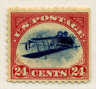 "Errors, freaks, and oddities - The ""Inverted Jenny"", issued in 1918."