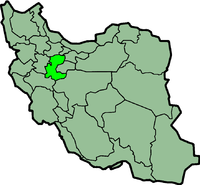Map of Iran with मर्कज़ी highlighted.