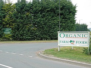 English: Ironic location Organic Farm Foods ne...