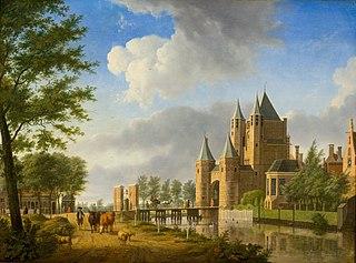 Gezicht op de Amsterdamse of Spaarnwouder Poort in Haarlem