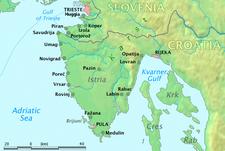 イストリア半島の地図、ロヴィニは半島西岸にあるの位置図