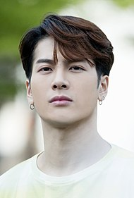 "Jackson Wang at a mini fanmeeting outside ""Show! Music Core"" studios, 1 June 2019 02.jpg"