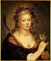 Portret van onbekende vrouw in herderinnenkledij