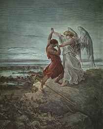 Jacó lutando com o anjo, por Doré, 1855 (Granger Collection, New York).