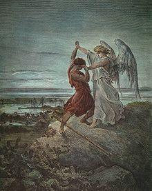 Giacobbe lotta con l'angelo, illustrazione di Gustave Doré (1855)