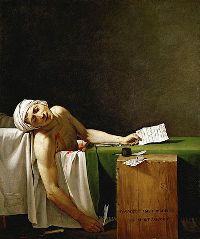 Marat, knivhöggs till döds i badet av girondisten Charlotte Corday