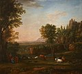 Jan Frans Beschey - A Wooded River Landscape with a Piping Shepherdess, Cattle and Goats.jpg