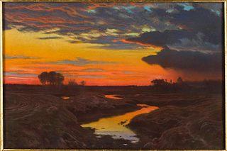Pejzaż o zachodzie słońca