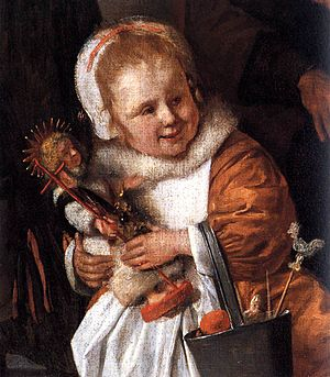 The Feast of Saint Nicholas - Detail of the painting with the youngest daughter holding her doll