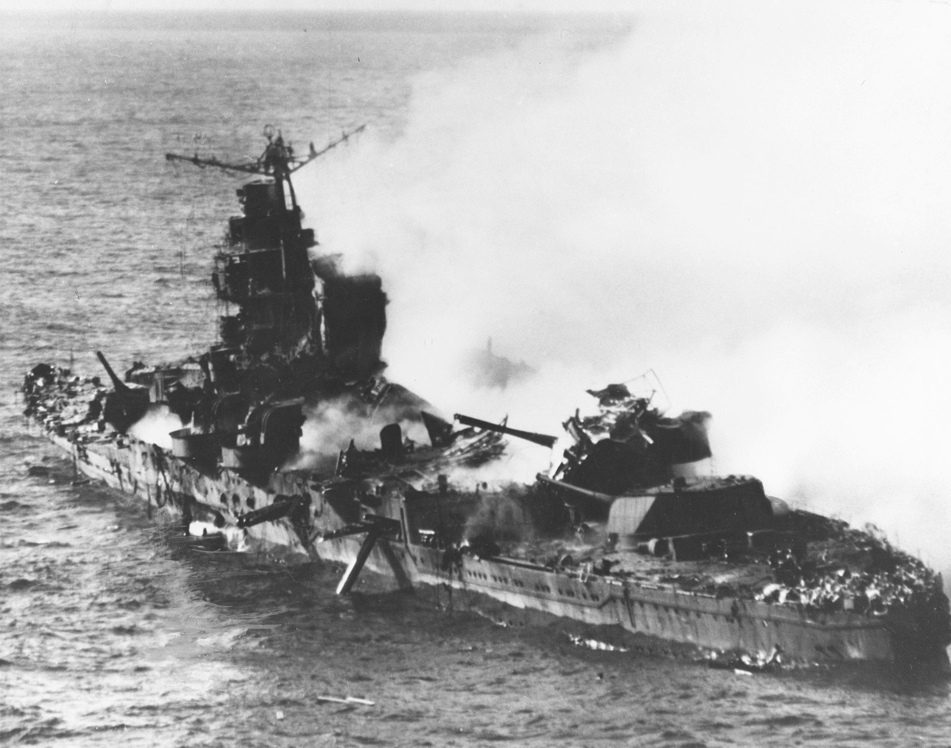 The Japanese cruiser Mikuma at the Battle of Midway.