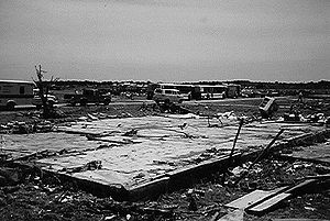 1997 Central Texas tornado outbreak - House foundation swept clean by the tornado at the Double Creek Estates.