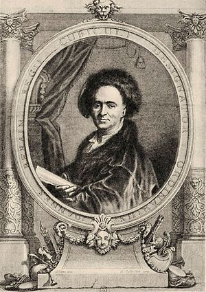 Jean Bérain the Elder - Portrait of Bérain, engraving by Claude Duflos after Joseph Vivien