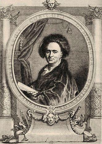 Jean Bérain the Elder - Portrait of Bérain, engraving by Claude Duflos after Joseph Vivien