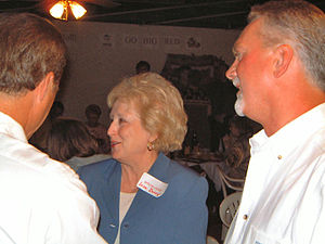 Jean M. Doerge - State Representative Jean Doerge greets friends at a Minden High School alumni gathering.