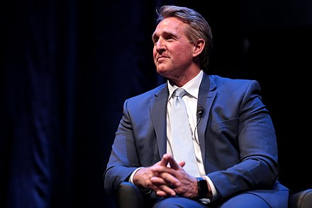 Flake speaking at an event at Arizona State University in March 2018 Jeff Flake (40435846494).jpg