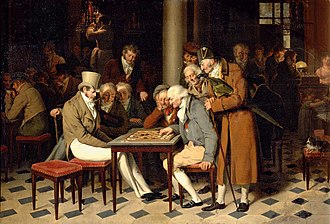 Parisian café - Men playing checkers at the Café Lamblin in the Palais-Royal, by Boilly (before 1808)