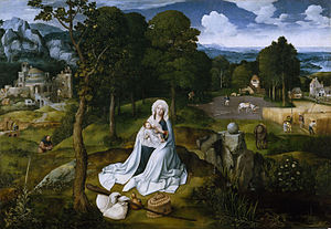 Rest on the Flight into Egypt - Joachim Patinir, 1518–1520, Prado