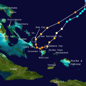 Hurricane Joaquin - Enlarged and annotated track of Joaquin from September 29 – October 3 depicting its path through the Bahamas